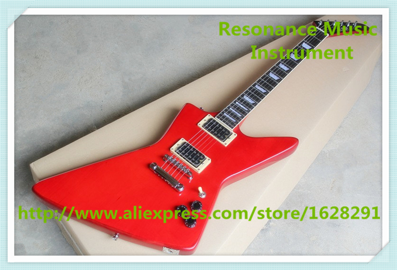 China Custom Shop ESP Electric Guitars In Glossy Red Color With Chrome Hardware For Sale new arrival china custom shop hollow es electric guitars with flat quilted vintage sunburst as pictures for sale