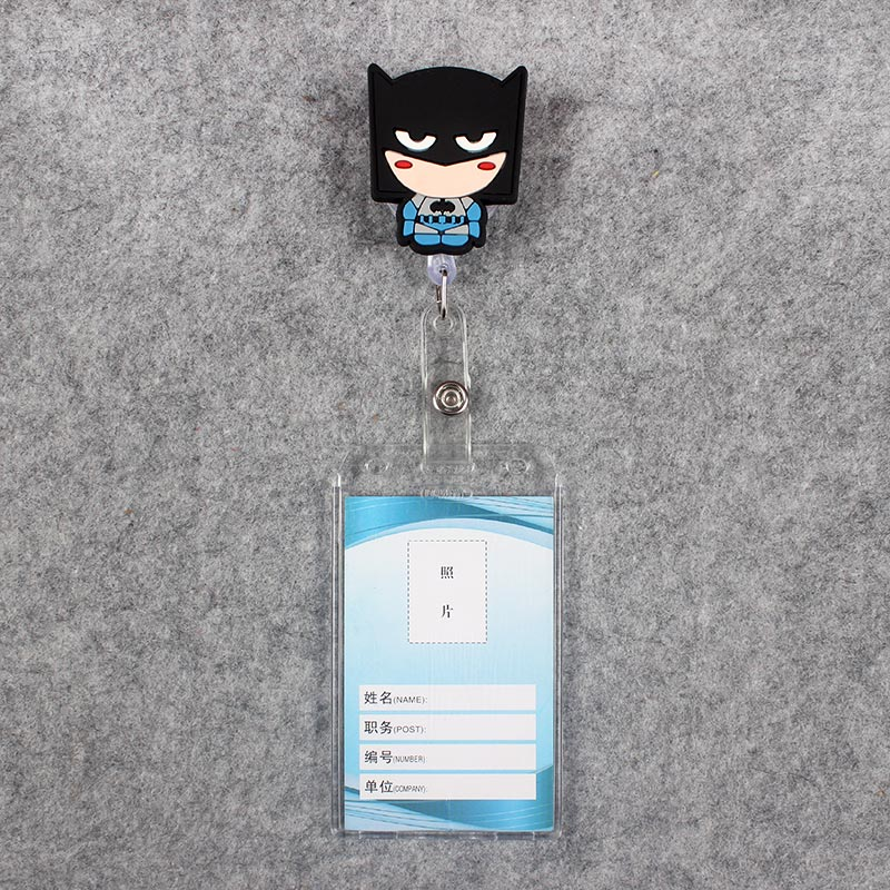 4Style Card Cartoon Black Man Badge Scroll Girl Reel Cute Scalable Nurse Exhibition Entrance Guard Card Plastic PU Card Holder in Badge Holder Accessories from Office School Supplies