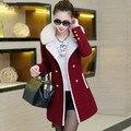 Casacos de inverno e casacos de mulher 2016 Moda Senhora Casaco De Pele Gola Dupla Breasted Fino de Lã Trincheira Casacos Quentes Jaqueta DX178