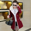 Winter coats and jackets woman 2016 Fashion Lady Slim Woolen Coat Fur Collar Double Breasted Trench Warm Coats Jacket DX178