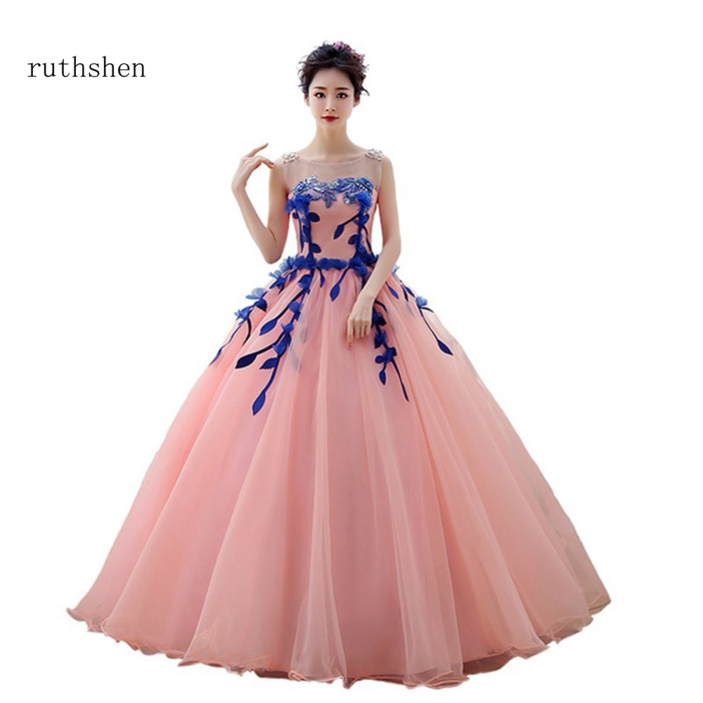 ruthshen Sexy Long   Prom     Dresses   Appliques Flowers Evening   Dresses   Luxury Elegant Robes De Soiree Strapless Party Gowns 2018