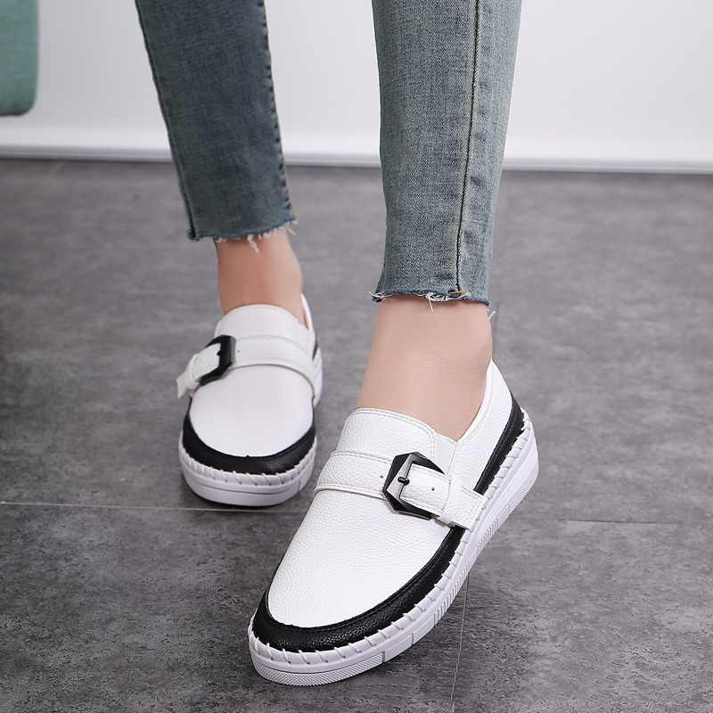 מעורב צבעים פלטפורמת נעלי אישה עור מוקסינים אבזם רצועת נעליים חצאיות נעלי בד נשים עבה תחתית דירות סטודנטים נעליים