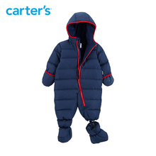 Carter s seamless overalls for boys blue red hooded snow wear baby boys snowsuit warm down