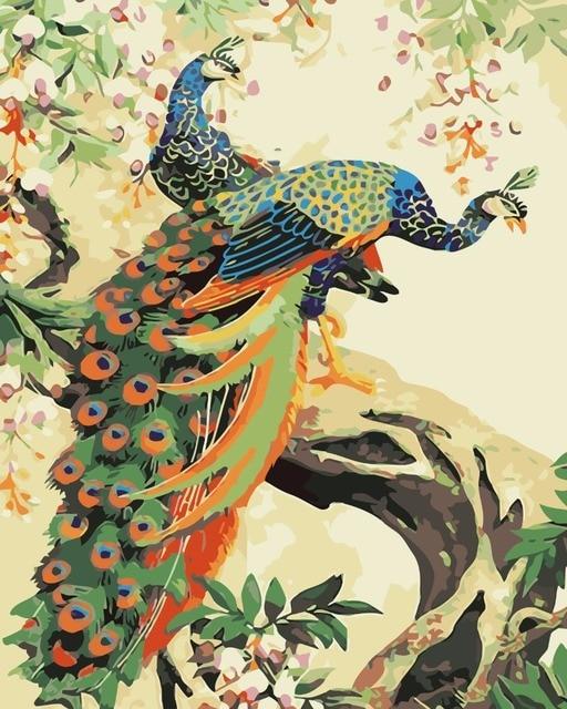 Dua Burung Burung Burung Merak Yang Indah Lukisan Minyak Dengan