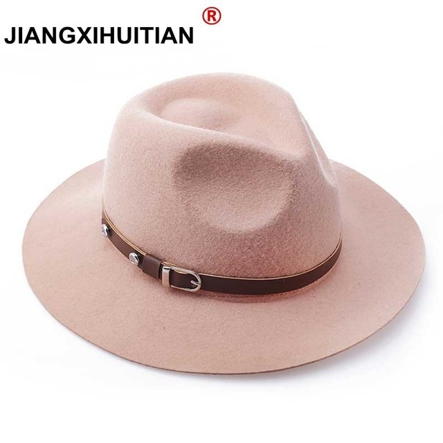 100% Wool Wide Brim Floppy Felt Trilby Belt Fedora jazz Hat For Elegant  Women Ladies Winter Autumn Cashmere Gangster Church Hat 448f3c5dd877