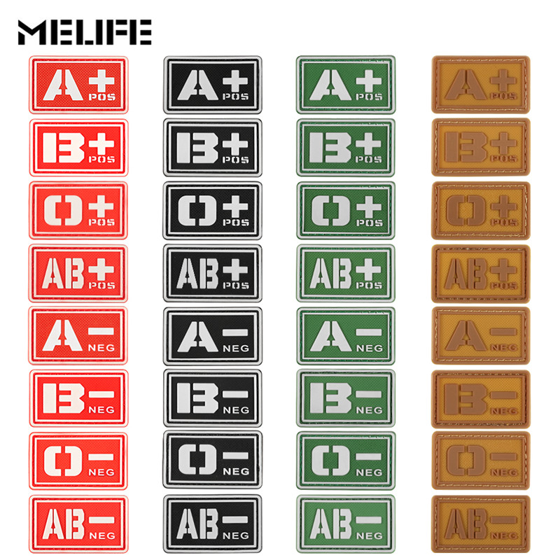 Red Souvenirs Glowing PVC Patchs A+ B+ AB+ O+ Positive A- B- AB- O- Negative Blood Type Tactics Patch Military Rubber Badge