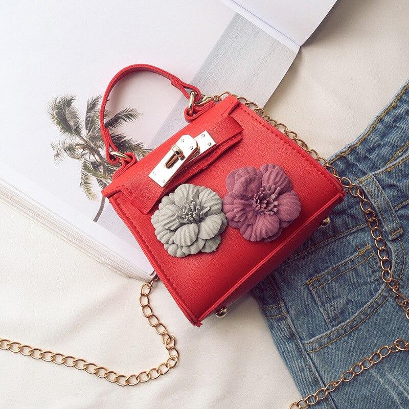 Искусственная кожа детей цветочный школьные сумки детей дорожная сумка-мессенджер цепь Crossbody Деньги сумки небольшой телефон сумки для дево...