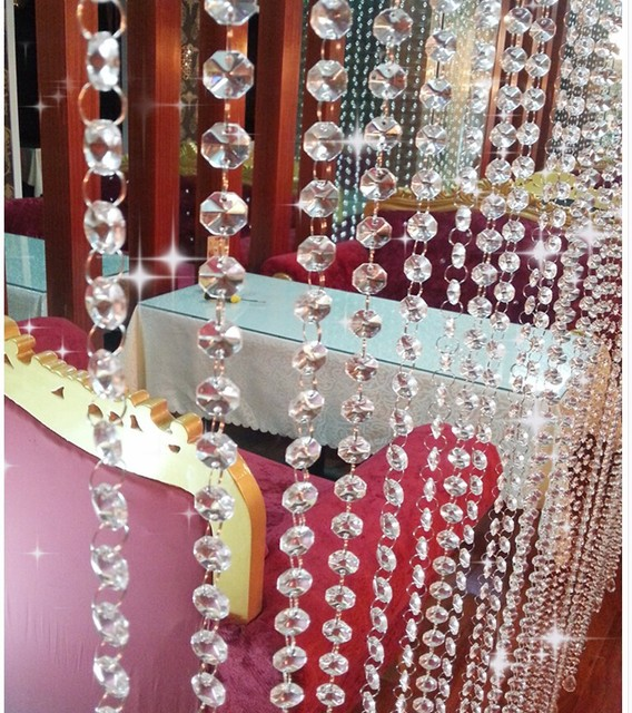 wholesale 10M/Lot Crystal AAA Silver Ring Crystal Garland Chains Glass 14mm Octagon Beads Strands diy beads curtain decoration