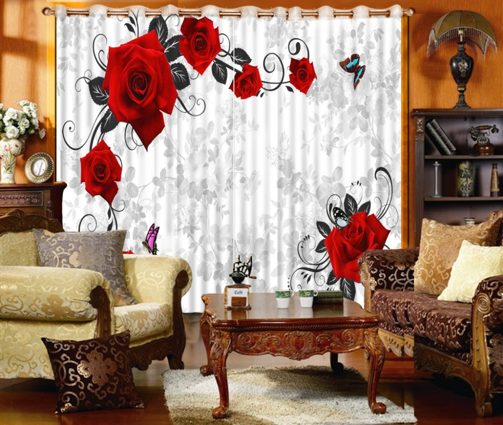 fashion decor home decoration for bedroom red flower rose Beautiful 3D flower modern curtains for bedroom curtains fashion decor home decoration for bedroom red flower rose Beautiful 3D flower modern curtains for bedroom curtains