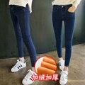 Terciopelo de la Cachemira de Invierno Gruesos pantalones Vaqueros Calientes de Las Mujeres Pantalones de Cintura Alta Negro Blue Jeans Niñas Pantalones Vaqueros Pantalones de Estiramiento