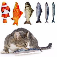 купить pet Cat Toys Cute Fish Shape Chewing Toy Simulation Stuffed Fish with Catnip Pet Interactive Toy for Cats Kitten 20/30cm дешево