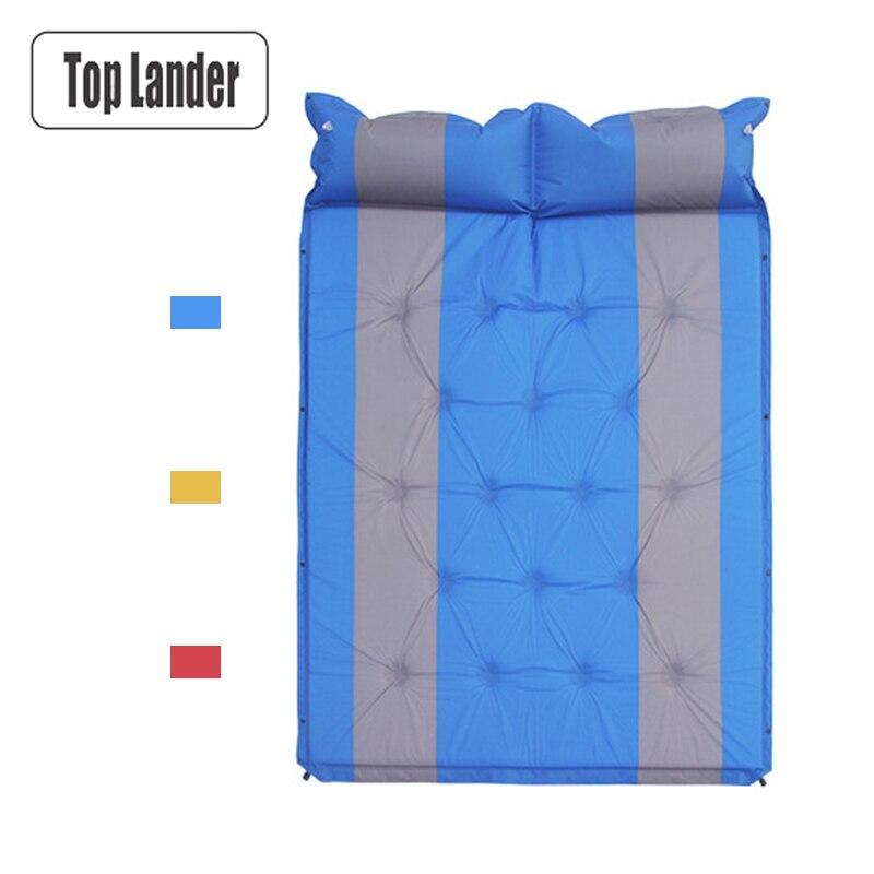 Matelas gonflable automatique à Double matelas d'air matelas de Camping en plein Air couverture de tente Portable pliable lits d'air pour 2 personnes