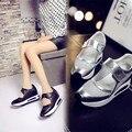 34-39 la nueva primavera 2016 de moda simple transpirable y cómodo cuero genuino aumento de la altura mujeres ' s informal shoes