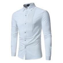 2019 Autumn Shirt Men Long Sleeve Casual Fashion Solid Color Turn-down Collar Shirt for Men Slim Fit Business Shirt  White Black