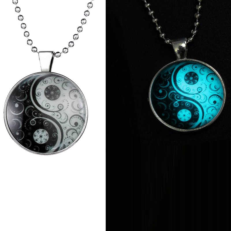 Glow Glass Necklace Jewelry Glowing Necklaces For Women Men New Glow In The Dark Necklace Yin Yang witchcraft Pendants GN3