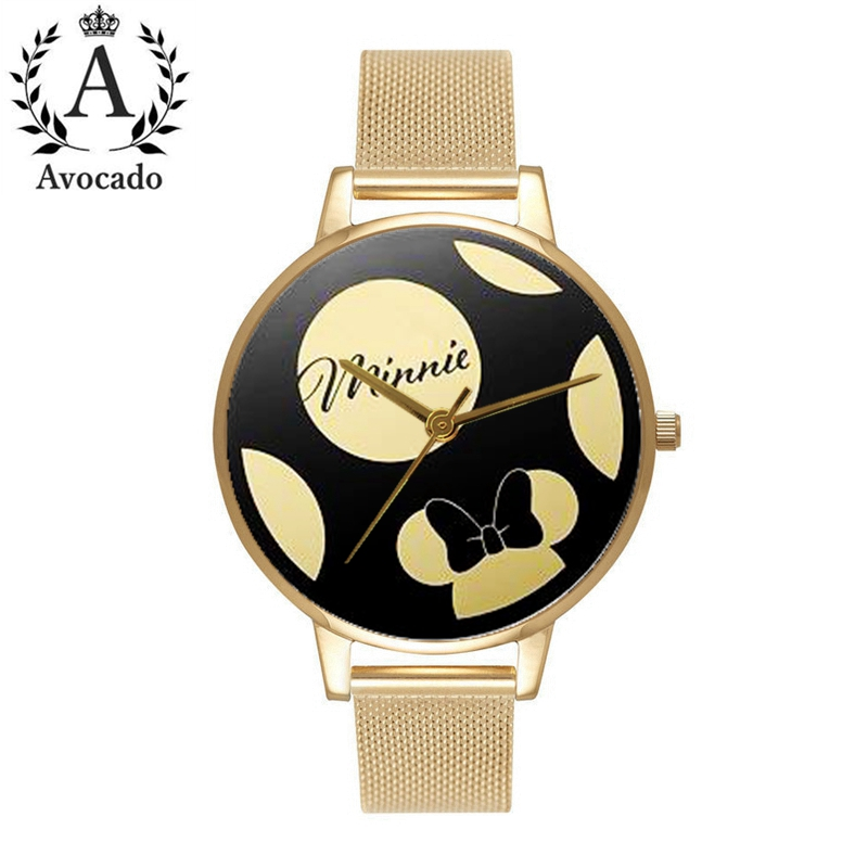 Avocado 2019 Mickey & Minnie Cartoon Watches Gold Mesh Belt Kids Watch For Women Female Ladies Students Girl Clock Gift