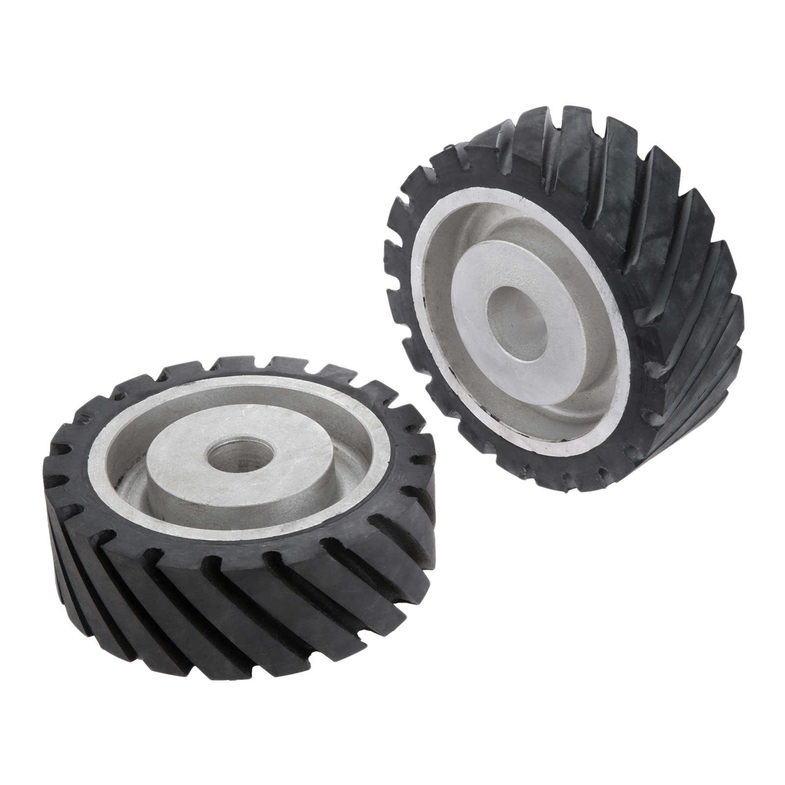 "8/"" Serrated Contact Rubber Wheel for Belt Grinder Sander Dynamically balanced"