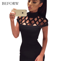 BEFORW Mini Sexy Dress Women Fashion Black White Party Dresses Cotton Short Sleeved Round Neck Summer
