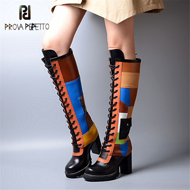 Prova Perfetto 2018 Top Quality Thigh Highs Colorful Look Thin Knee High Boots Mixed Colors Round Toe with Platform Long Boots prova perfetto autumn new arrived 2018 women zip knee boots look thin look tall hollow out temperament thick heels boots 34 40