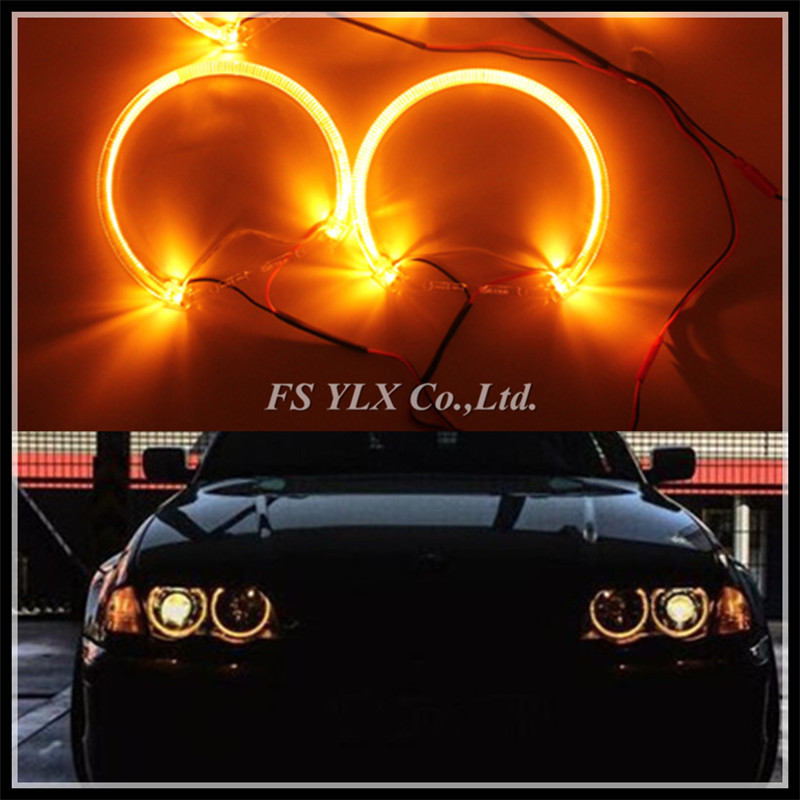 NEW CR SMD LED Angel Eyes for BMW E46 E39 E38 E36 projector LED headlights DRL halo ring kit 131mm Yellow Amber LED Angel Eyes led rings white 3014 smd led angel eyes headlight halo ring marker 131mm 145mm for bmw e46 non projector