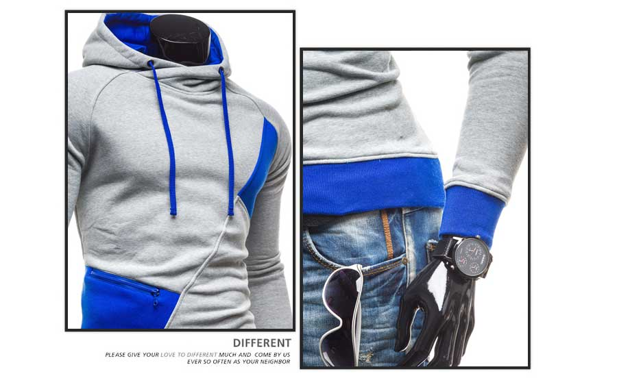 spring and autumn new hoodie men's matching color patchwork jumper Korean version of men's coat 38