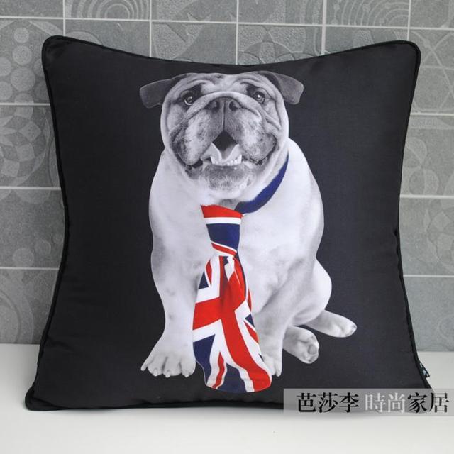 Bulldog inglese copertura del cuscino nero bianco cane cartone