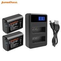 Powtree для sony 2 шт 2000 mAh 7,2 V NP FW50 NP-FW50 NPFW50 Камера Батареи Akku + ЖК-дисплей двойной Зарядное устройство ДЛЯ Alpha a6500 6300 6000 3000