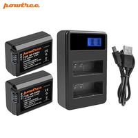 Powtree For Sony 2000mAh 7.2V NP FW50 NP FW50 NPFW50 Camera battery+LCD Dual Charger For Alpha a6500 6300 6000 3000 L20