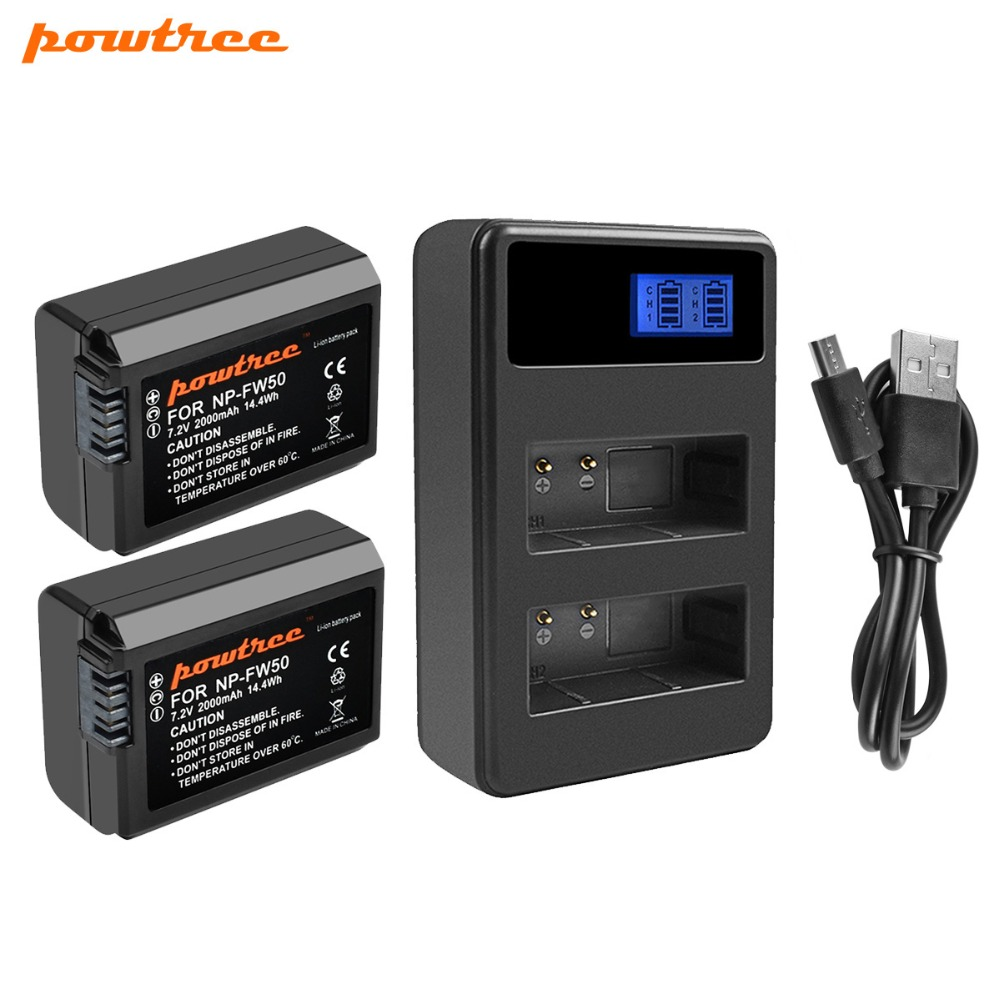 Powtree For <font><b>Sony</b></font> 2PCS 2000mAh 7.2V NP FW50 NP-FW50 NPFW50 Camera battery Akku + LCD Dual Charger For <font><b>Alpha</b></font> a6500 6300 6000 <font><b>3000</b></font> image