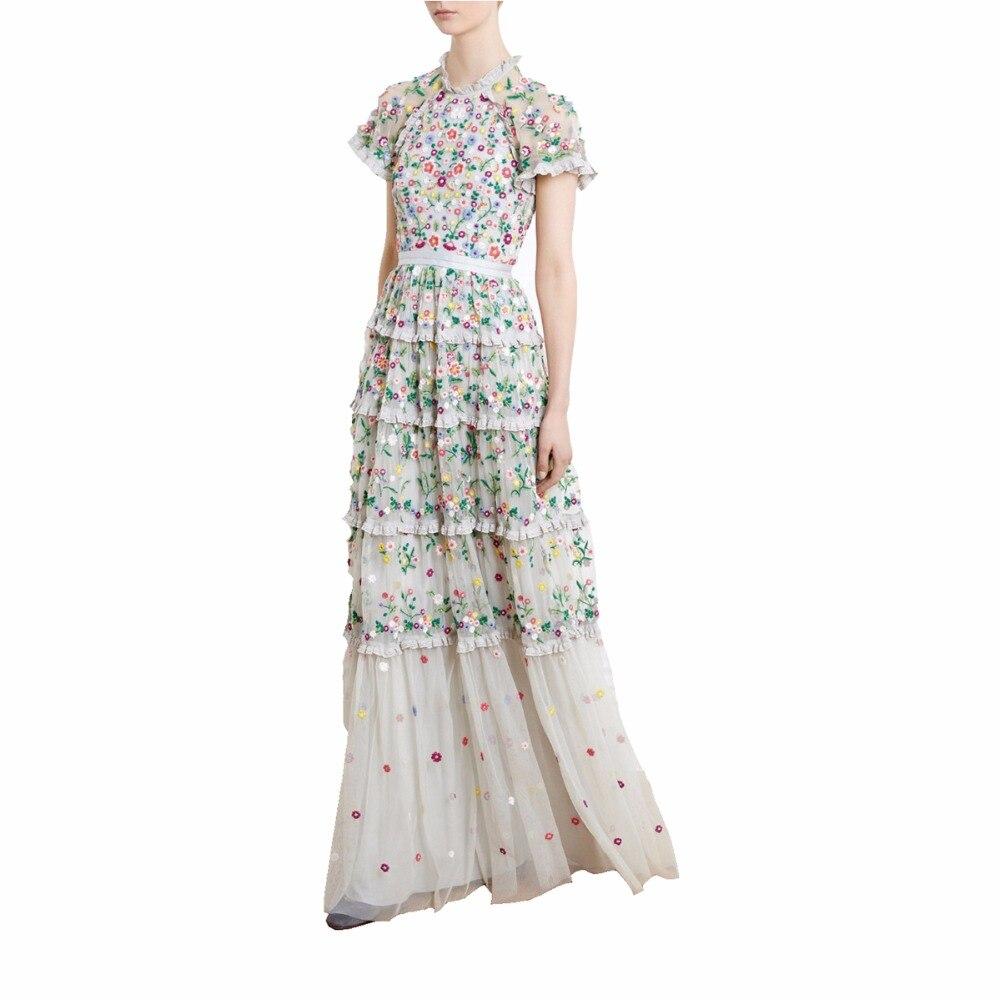 Здесь продается  Runway Desinger Embroidery Women Dress 2018 Summer High Wasit Mesh Floral Embroidery Ruffles Elegant Long Party Dresses vestido  Одежда и аксессуары