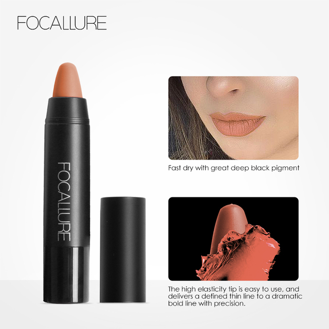 FOCALLURE Matte Lipstick 19 Colors Waterproof Long-lasting Easy to Wear Professional Lipstick Nude Lipstick 2