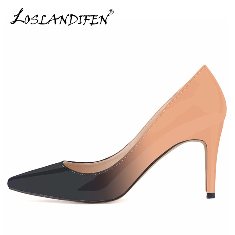 LOSLANDIFEN New Gradient Women Pumps Fashion Leather Pointed Toe High Heels Shoes Woman Dress Wedding Shoes Ladies Slip-on Pumps bowknot pointed toe women pumps flock leather woman thin high heels wedding shoes 2017 new fashion shoes plus size 41 42