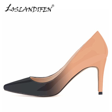 hot deal buy loslandifen new gradient women pumps fashion leather pointed toe high heels shoes woman dress wedding shoes ladies slip-on pumps