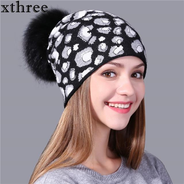 Xthree 2017 Leopard Print Knitted Winter Hat for Women Beanie Skullies Real  Fur Pom Wool Gorros Female Cap 0478f0bf764