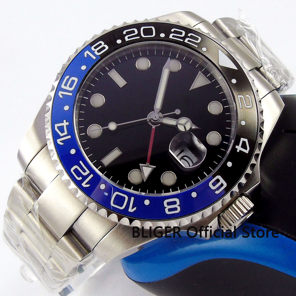 Sapphire Crystal BLIGER 43MM Nologo Big Dial Men's Watch GMT Function Blue Black Ceramic Bezel Automatic Movement Watch