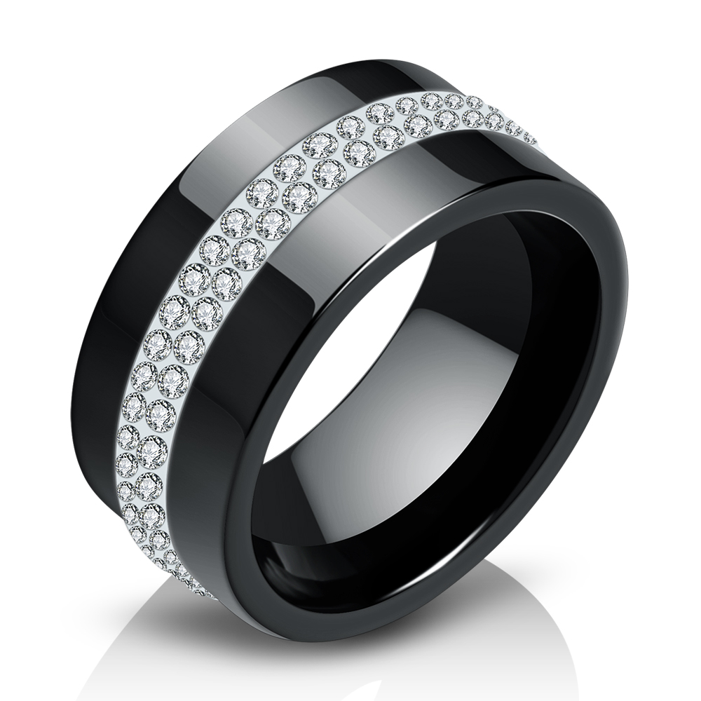 New 10MM Black and White 2 Row Crystal Ceramic Rings Women Engagement Promise Wedding Band Gifts For Women 4