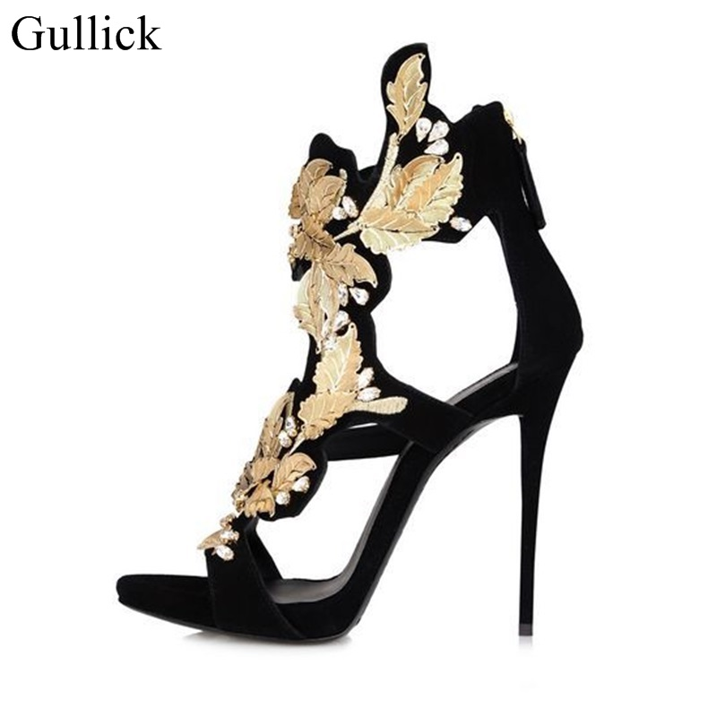Sexy Gold Leaf High Heels Sandals For Women High Stiletto Heels Women Party  Dress Shoes Back Zipper Cage Shoes Big Size 10-in High Heels from Shoes on  ... 4d62e3ef13e3