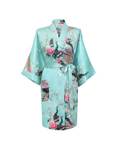 Hot Sale Sky Blue Female Satin Polyester Robe Chinese Floral Bath Gown Classic Casual Nightgown Size S M L XL XXL XXXL