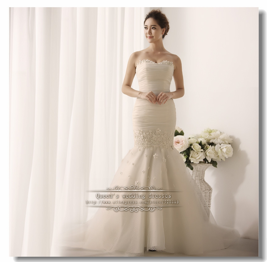 Wedding Gown Under 200: Mermaid Lace Up Beautiful Wedding Dress Gown With Sleeve