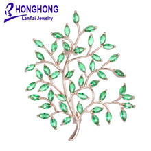 HONGHONG2017 High Quality Green leaves Style Brooches Shiny Cubic zirconia Inlay Lady Jewelry for Weddings New Year Gifts WX8009