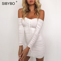 Sibybo Off Shoulder Strapless Sexy Bodycon Dress Autumn Winter Long Sleeve Sheath Club Party Dresses Short