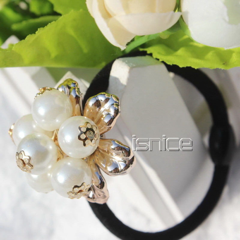 TS Lovely Pearl Skull crown Hair Band Jewelry Bow Rope Headwear Elastic Accessories Bowknot - New Sky Company Limited store