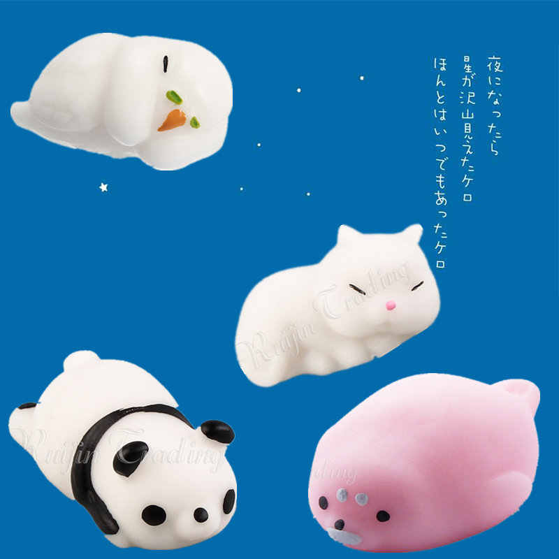 Cute Seal Parrot Panda Cat Pussy Mochi Squishy New Animals Soft Squeeze Phone Straps Pendant Anti