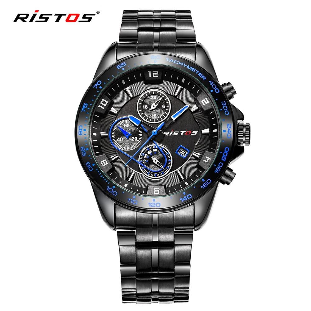 Prix pour RISTOS Noir Acier Sport Hommes Montre Top Marque Étanche Mâle Montres À Quartz Date Militaire Montre-Bracelet De Mode Montres 2016 Horloge