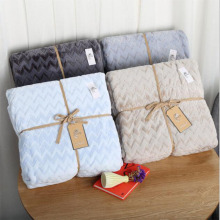 Coupe Jacquard Flannel Blanket Pure Colour Hand Embossing Cover Home Decor Soft  Absorbent Warm Throw