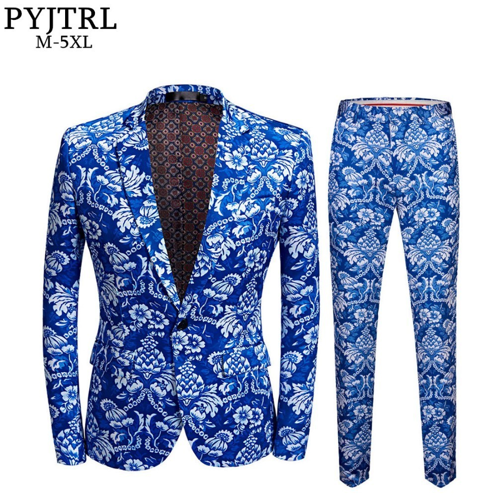 PYJTRL Brand New Mens Vintage Blue Floral Print Slim Fit Suits With Pants Plus Size 5XL Veste Homme Mariage Groom Wedding Suit