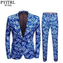 PYJTRL trajes de corte entallado para hombre, trajes de corte entallado con estampado Floral azul Vintage para hombre, traje de boda de talla grande 5XL