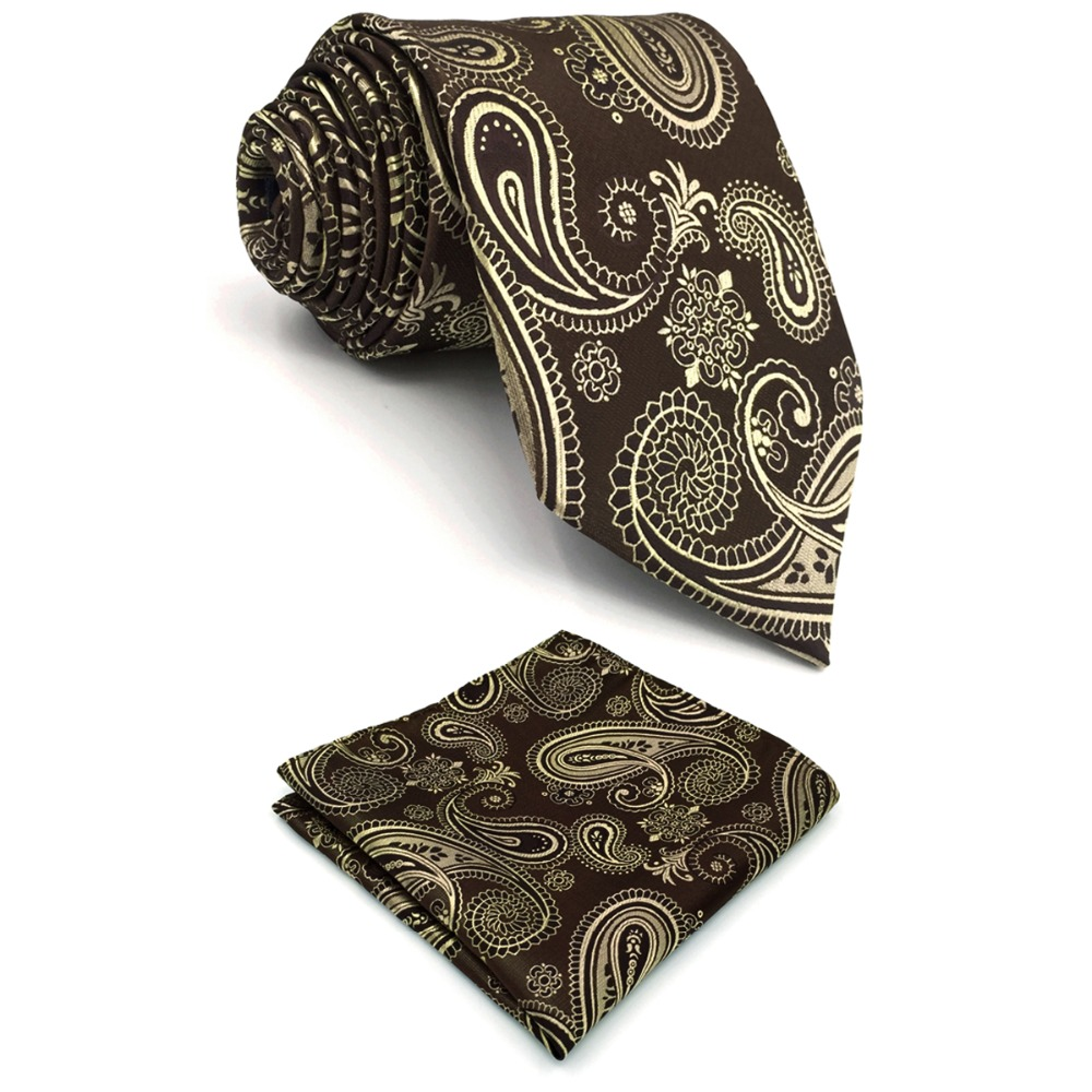 B10 Brown Paisley Mens Necktie Set Silk Jacquard Woven Fashion Ties for male Classic Hankies extra long size 63