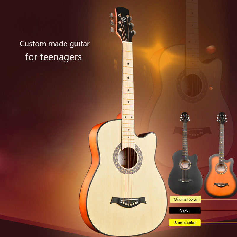 38 Inch Beginner Folk Guitar 6 Strings Handmade Student Bass Guitar for Teenagers And Children Enlightenment Musical Instrument 30 34 36 inch novice guitar beginner folk guitar six chord little guitar