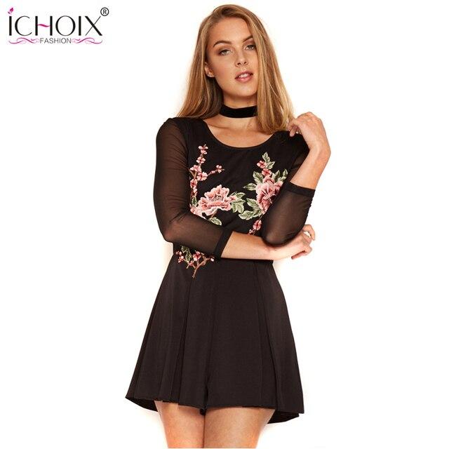 ICHOIX Весна Женщины Sexy Комбинезоны Комбинезоны 2017 Sexy Боди Вышивка Цветы С Длинным Рукавом Комбинезон ползунки Боди